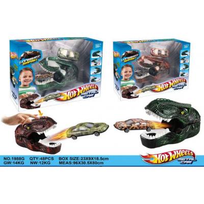 2-е машинки с динозавром HOTWHEELS
