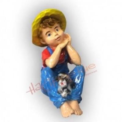 Мальчик с щенком(полистоун)