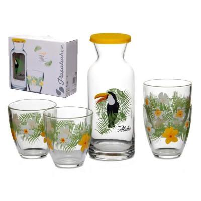 """Jungle"""" тукан набор декантер 700 мл.+4 стакана 285 мл.(43814 желт.силик.крыш. D28900+4*52645 D28875)"""