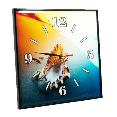Часы стекл настенные  30см*30см  Ракушка
