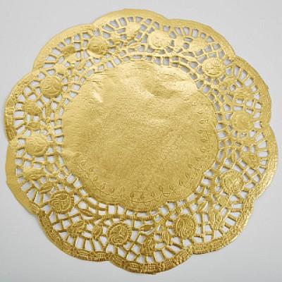 BE-0366 Салфетка кондитерская ажурная  цвет: золото 8 шт D=24см (150)