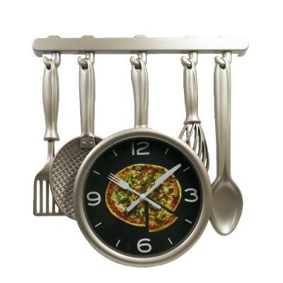 """Часы """"Столовые принадлежности со сковородкой"""" д=35см"""
