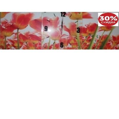 Коллаж настенный с часами из 3-х частей 30см*30см Тюльпаны-2